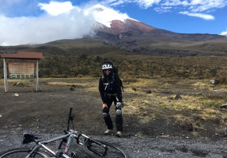 Mastered the first steep downhill section - and Cotopaxi reveals its summit for a picture with me